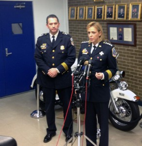Metropolitan Police Chief Cathy Lanier speaks about two investigations involving three of her officers Friday. (WTOP/Thomas Warren)