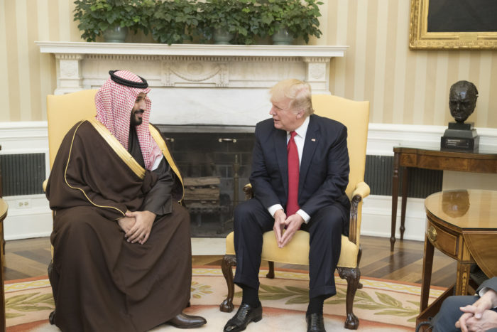 President Donald Trump speaks with Mohammed bin Salman,