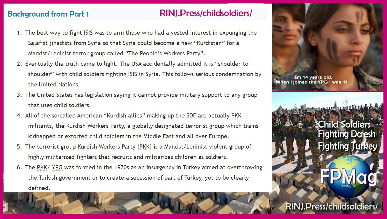 Does it surprise anyone that RINJ Women are vehemently opposed to the USA using Child Soldiers to Fight its battles in Syria?